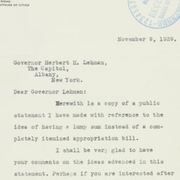 Letter: 1939 November 9