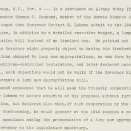 Press Release: 1939 November 9