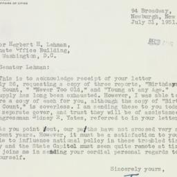 Letter: 1951 July 31