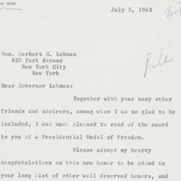 Letter: 1963 July 5