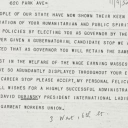 Telegram : 1932 November 9