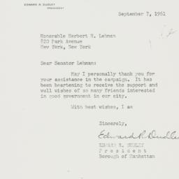 Letter : 1961 September 7