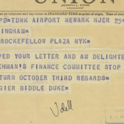 Telegram: 1949 September 25