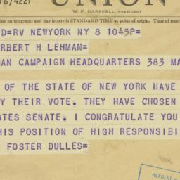 Telegram : 1949 November 8