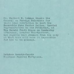 Letter : 1951 October 24