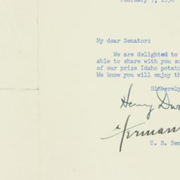 Letter : 1956 February 7