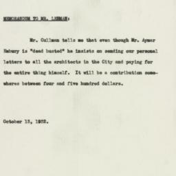 Memorandum : 1932 October 13