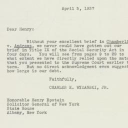 Letter : 1937 April 5