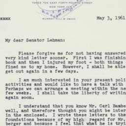 Letter : 1961 May 3