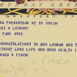 Telegram : 1951 March 28