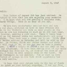 Letter : 1948 August 9