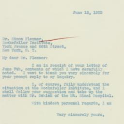 Letter : 1933 June 12