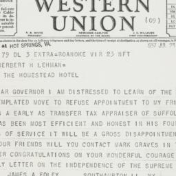 Telegram : 1937 July 23