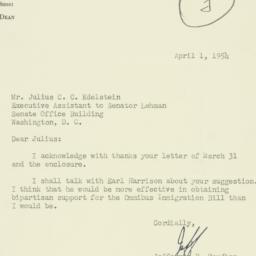 Letter : 1954 April 1