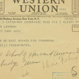 Telegram: 1936 November 2