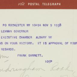 Telegram : 1938 November 9