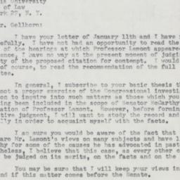 Letter : 1954 January 29