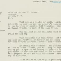 Letter: 1933 October 31