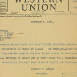 Telegram : 1939 February 1