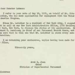 Letter : 1951 May 17
