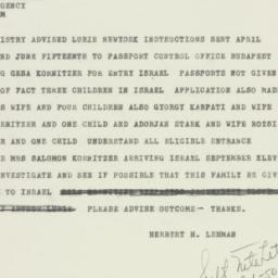 Telegram : 1950 September 6