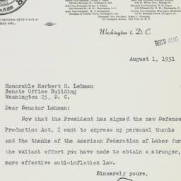 Letter : 1951 August 1