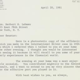 Letter : 1961 April 20