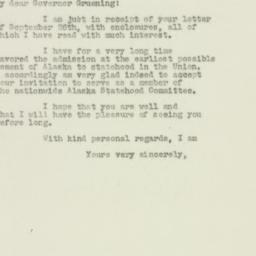 Letter: 1949 September 30