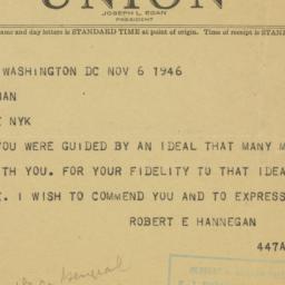 Telegram : 1946 November 6