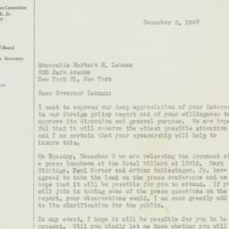 Letter : 1947 December 3