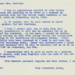 Letter : 1940 March 6