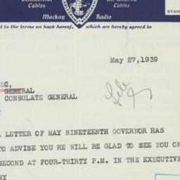 Memorandum: 1939 May 27