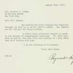 Letter : 1925 August 31