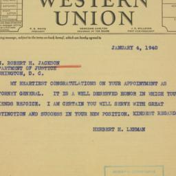 Telegram: 1940 January 4