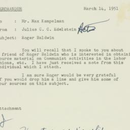 Memorandum : 1951 March 14