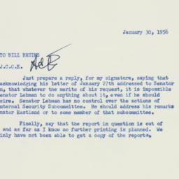 Memorandum : 1956 January 30