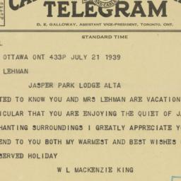 Telegram : 1939 July 21