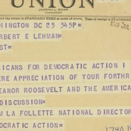 Telegram : 1949 July 25