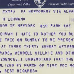 Telegram : 1941 May 23
