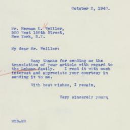 Certificate : 1940 October 2