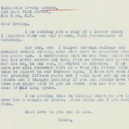 Letter: 1936 November 10