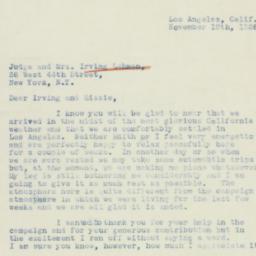 Letter: 1938 November 19