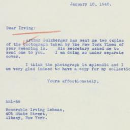 Letter: 1940 January 10