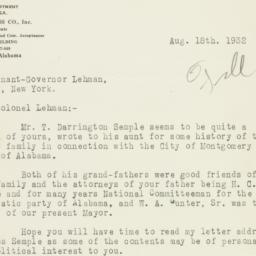Letter : 1932 August 18