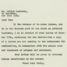 Letter: 1929 October 21