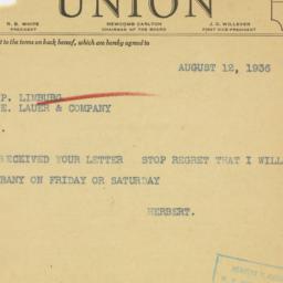 Letter : 1936 August 14