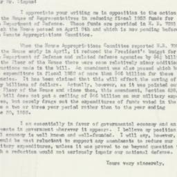 Letter : 1952 June 4