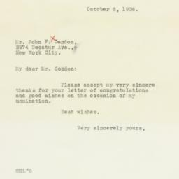 Letter : 1936 October 8