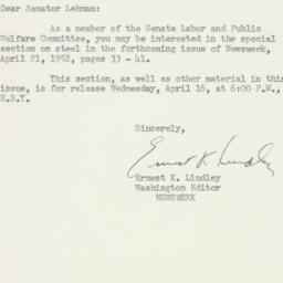 Letter : 1952 April 16