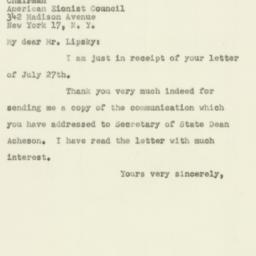 Letter : 1951 July 31